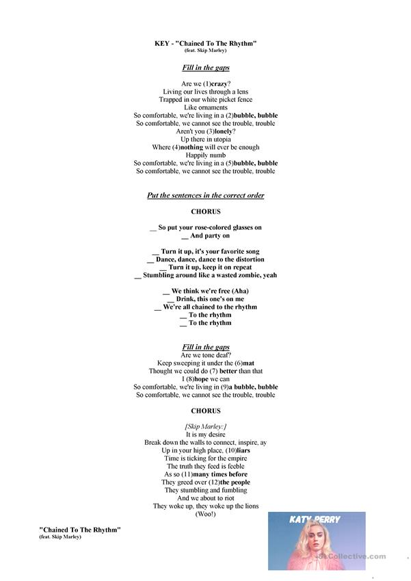 Katy Perry - Chained To The Rhythm - Listening Worksheet