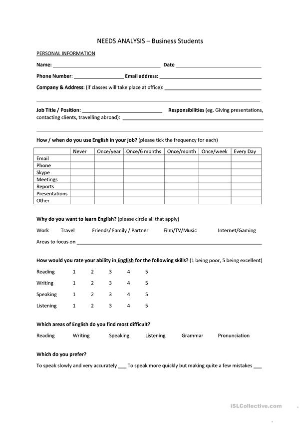 Needs Analysis Template - Business Students