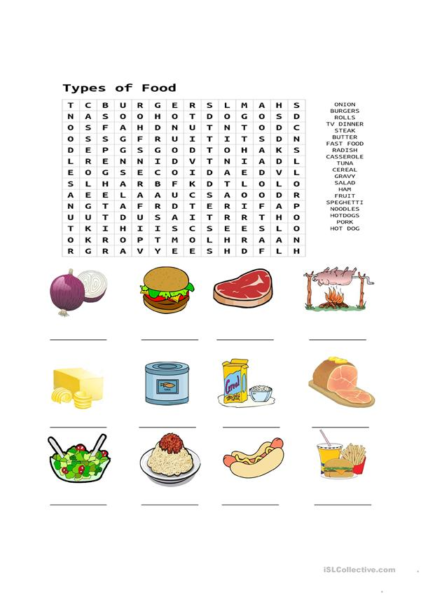 Types of Food Word Search