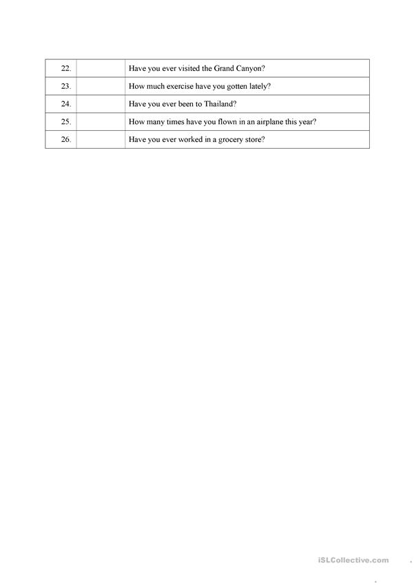 Using Present Perfect - Main Uses in questions