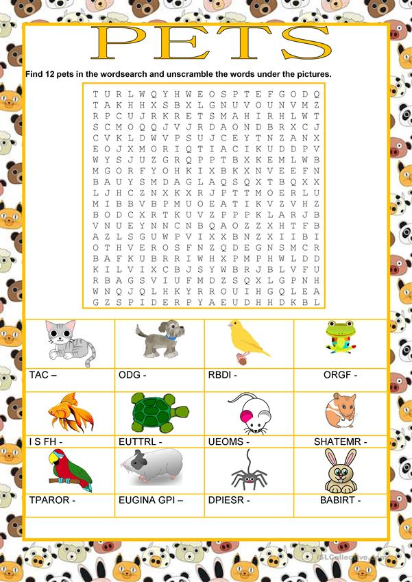 Wordsearch - Animals - Pets