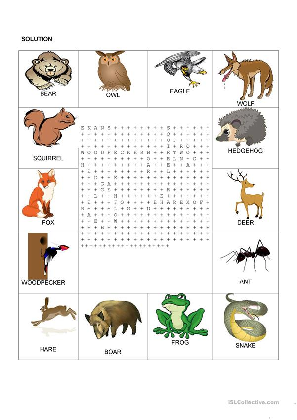 image regarding Animal Word Search Printable known as Wordsearch - Forest pets - English ESL Worksheets