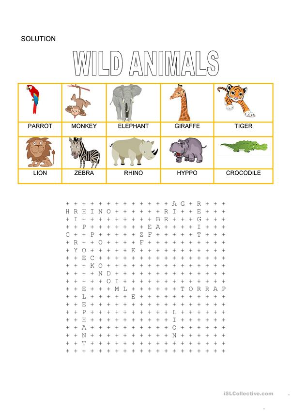Wordsearch -  Wild animals 1