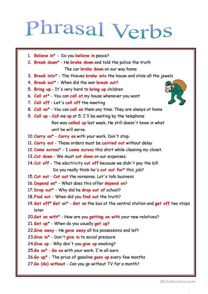 phrasal verb essay Phrasal verbs list 200 common phrasal verbs phrasal verb meaning my teacher wants me to do my essay over because she doesn't like my topic.