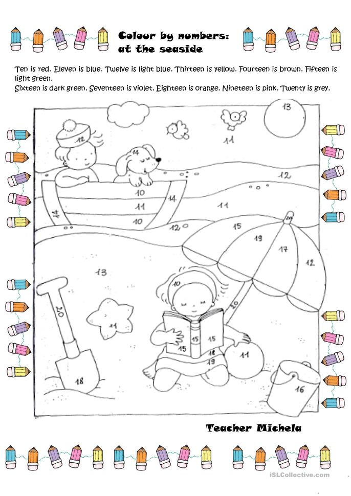 Printable Special Needs Worksheets : Colour by numbers at the seaside worksheet free esl