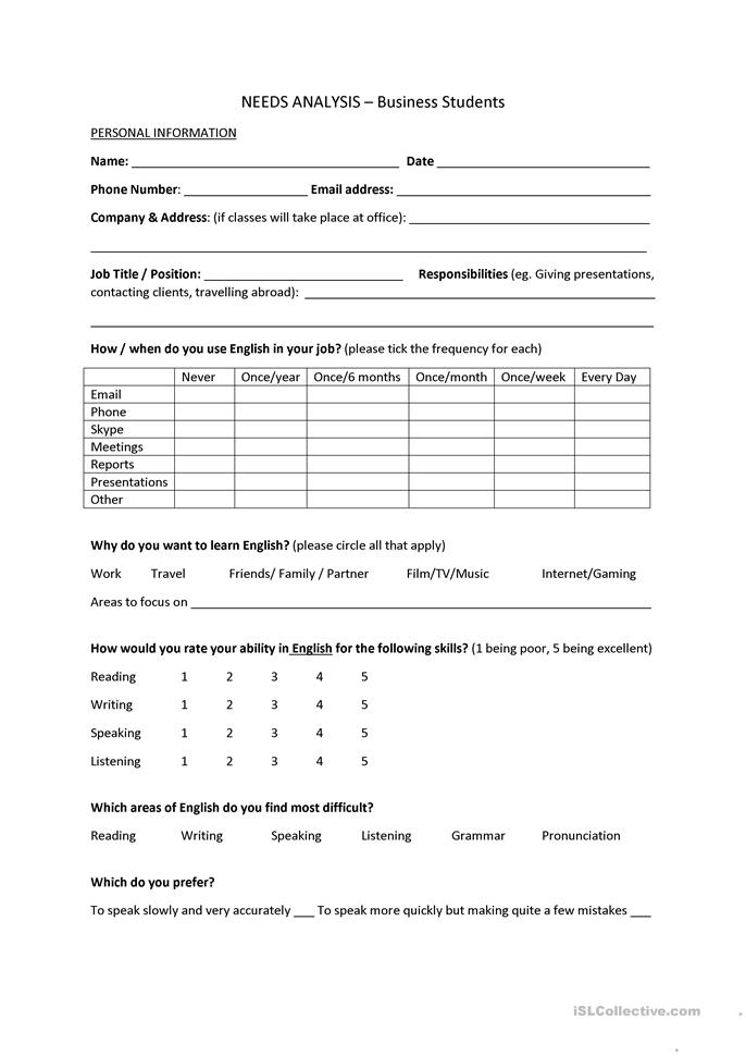 needs analysis template business students worksheet free esl printable worksheets made by. Black Bedroom Furniture Sets. Home Design Ideas