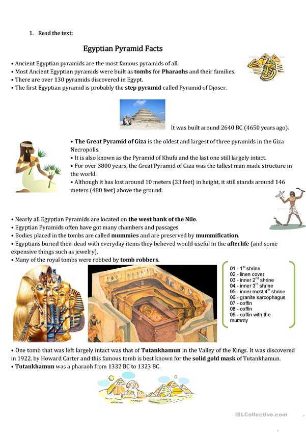 Ancient Egypt Pyramids-short text and speaking excercise worksheet