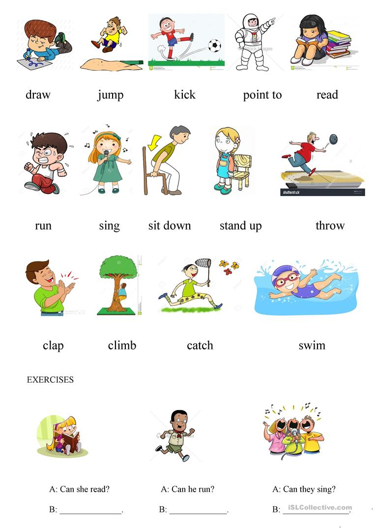 Action Verbs 1 - English ESL Worksheets for distance ...