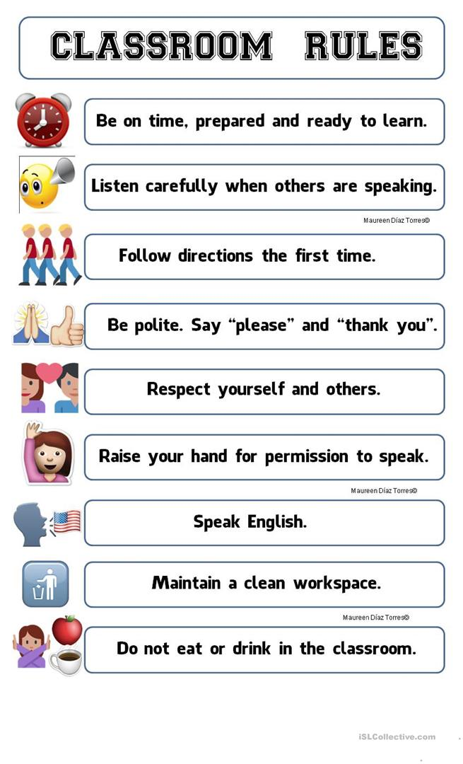 image regarding Free Printable Classroom Rules Poster known as CLASSROOM Regulations POSTER EMOJI - English ESL Worksheets