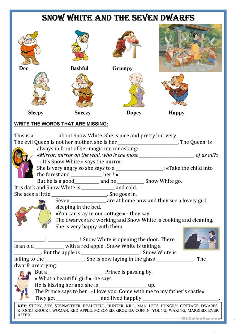 fairytale snow white short text fill the gaps worksheet free