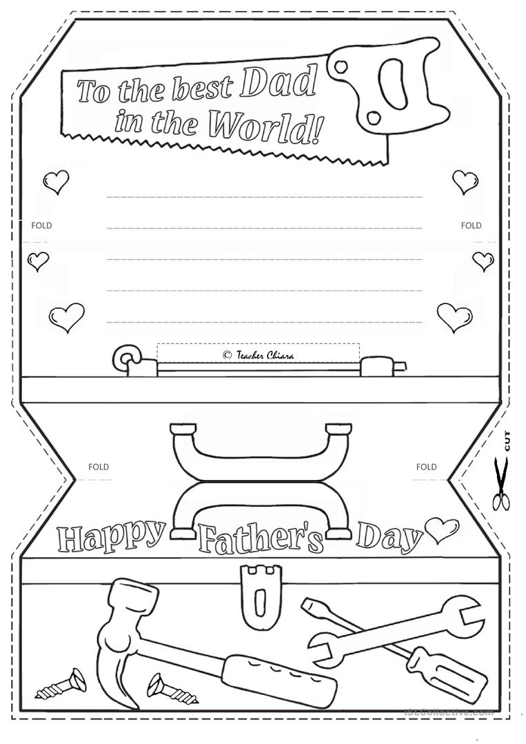 It is a picture of Nifty Printable Fathers Day Cards to Color