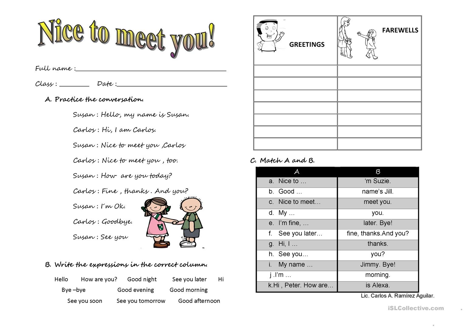 Nice To Meet You English Esl Worksheets For Distance Learning And Physical Classrooms