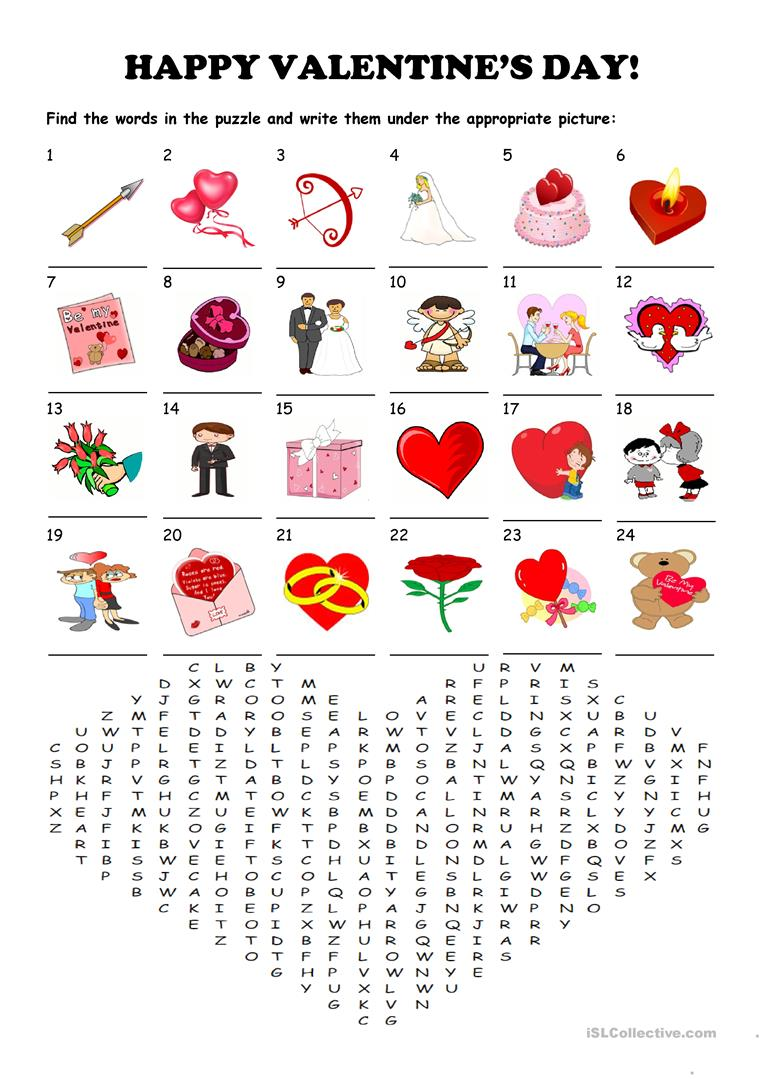 Saint Valentine S Day Word Search Puzzle Worksheet Free Esl