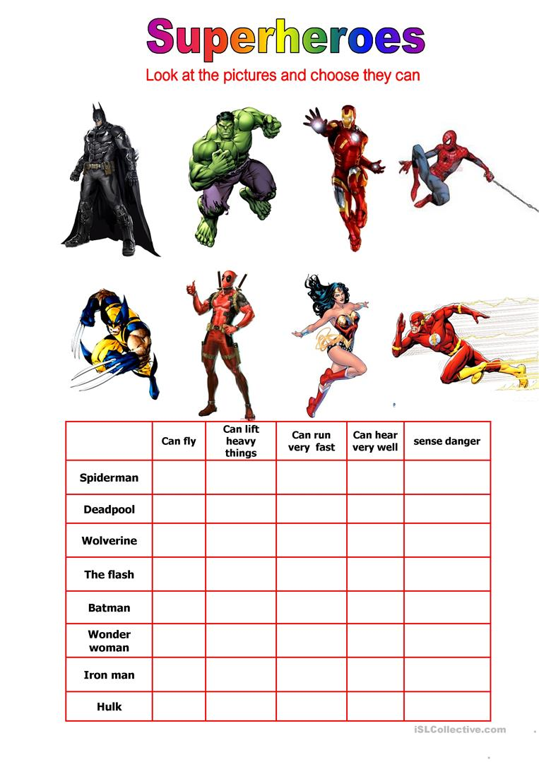 Worksheets Superhero Worksheets 29 free esl superheroes worksheets can they