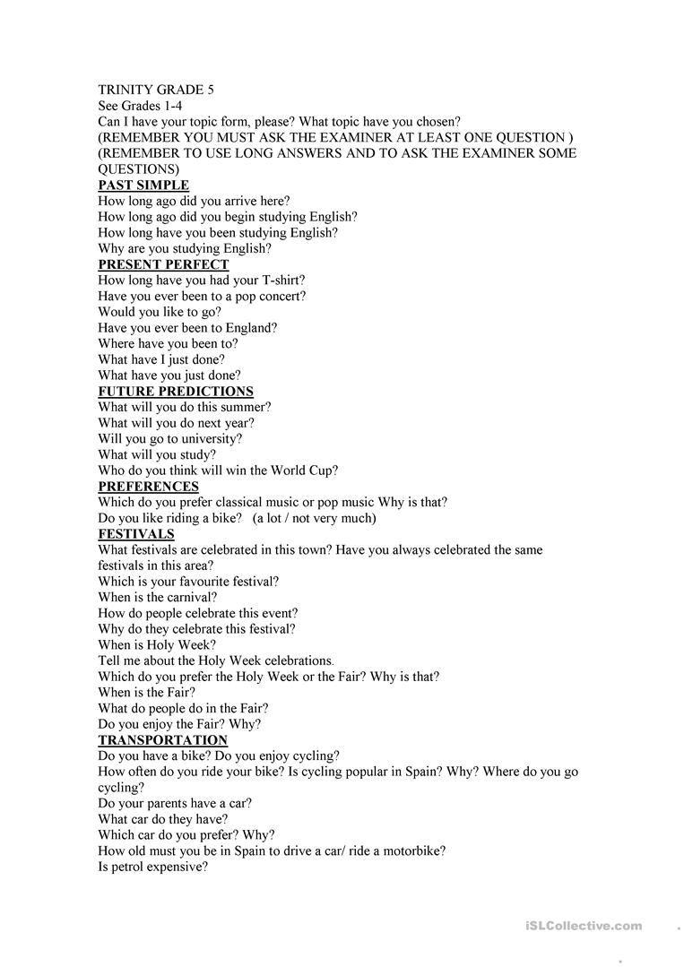 - Trinity Grade 5 - English ESL Worksheets For Distance Learning And