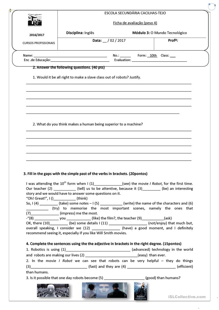 worksheet on the movie i robot worksheet free esl printable worksheets made by teachers. Black Bedroom Furniture Sets. Home Design Ideas