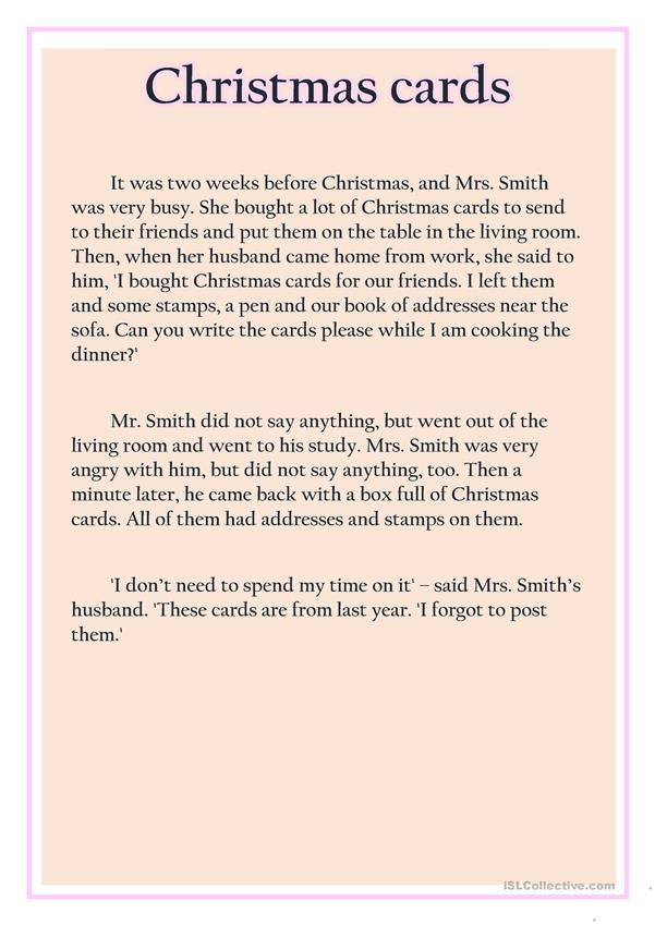 Christmas cards (text for retelling)
