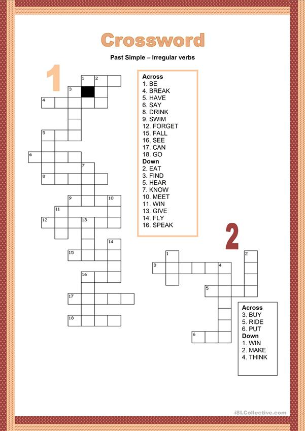 Crosswords - Simple Past tense