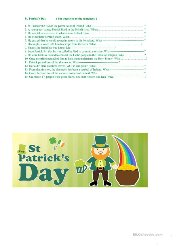 St. Patrick's Day ( questions to the sentences )