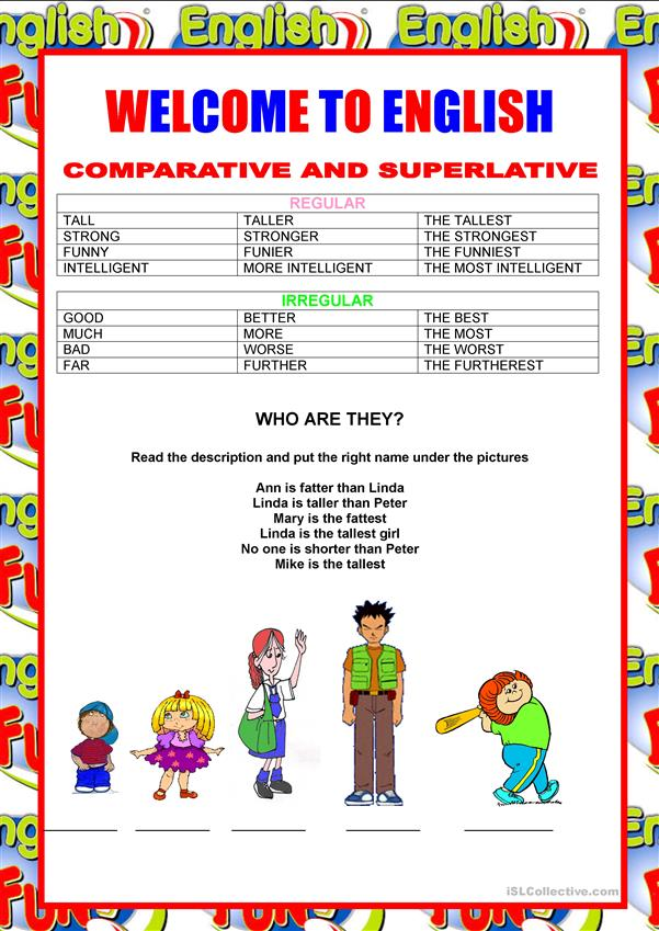Welcome to English - Adjectives - Comparative and Superlative