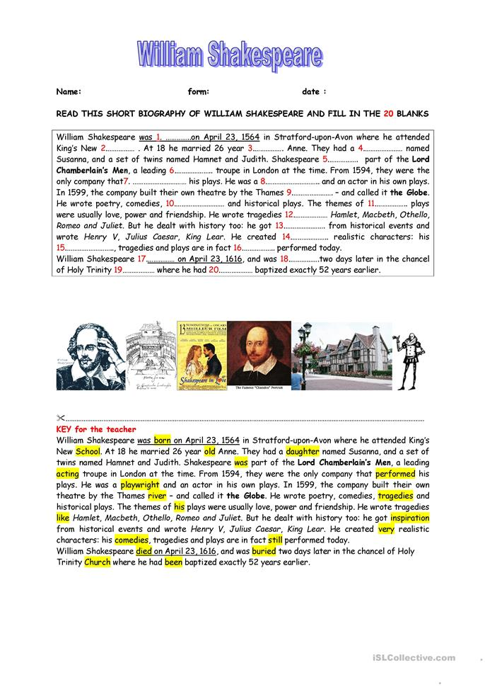a short biography of william shakespeare key worksheet free esl printable worksheets made by. Black Bedroom Furniture Sets. Home Design Ideas