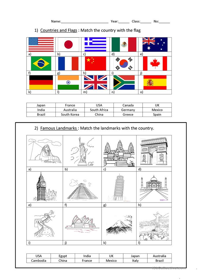 16 FREE ESL continents worksheets