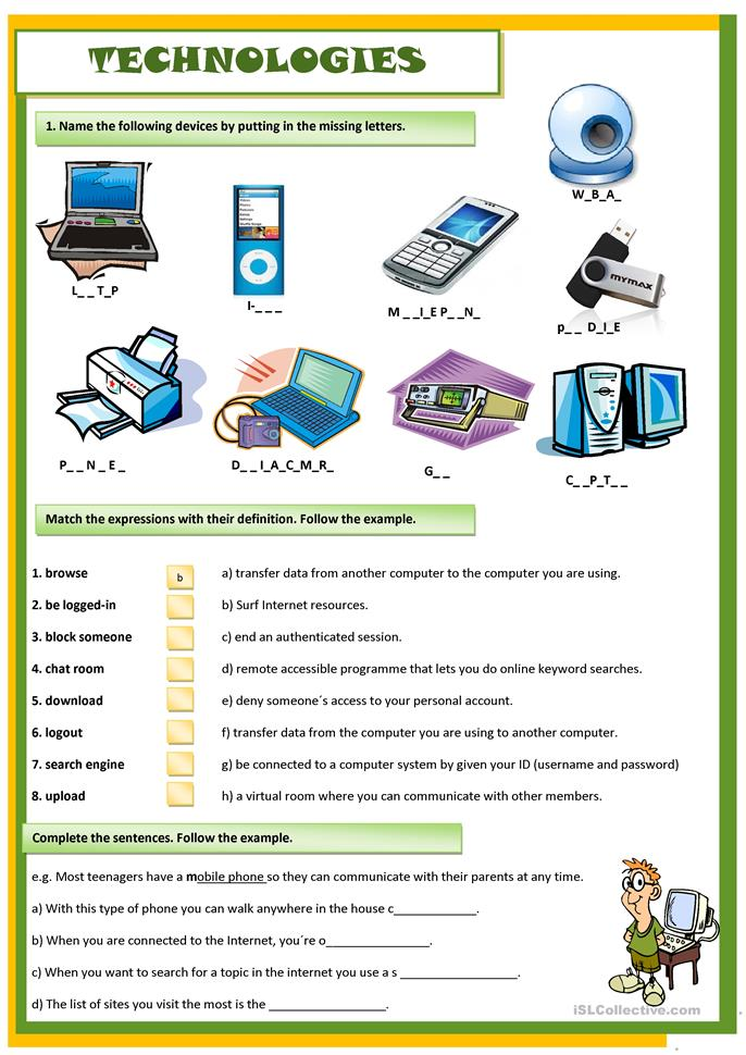 TECHNOLOGIES worksheet - Free ESL printable worksheets ...