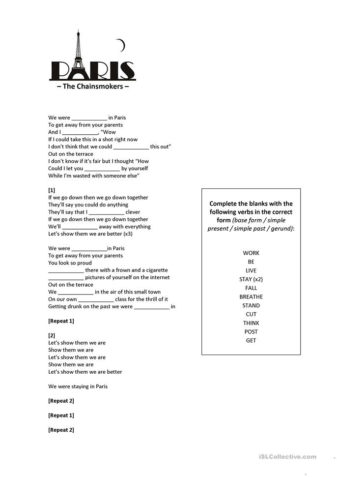 the chainsmokers paris worksheet free esl printable worksheets made by teachers. Black Bedroom Furniture Sets. Home Design Ideas