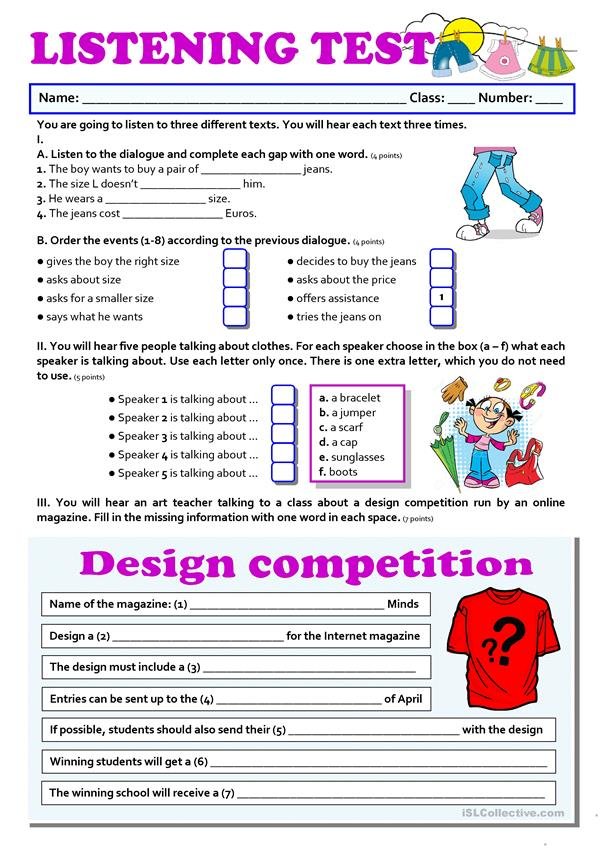 CLOTHES   listening   English ESL Worksheets for distance ...