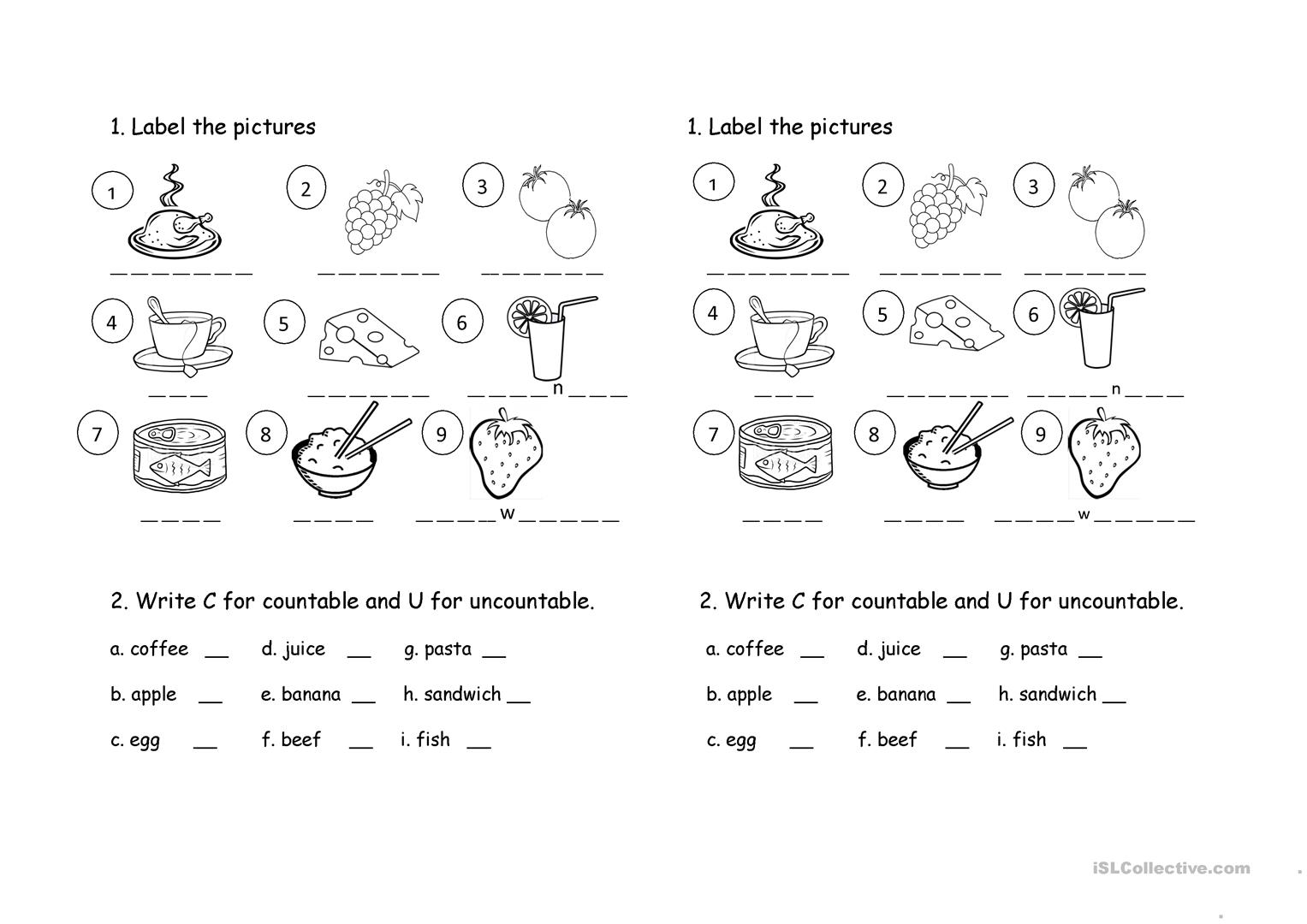 food-worksheet-picture-description-exercises-tests_96857_1 Teaching Countable And Uncountable Nouns To Beginners on cake chicken, exercises pdf, worksheets grade 5, exercises intermediate, 4th grade worksheets, english practice, worksheets for grade 1, worksheet for kids,