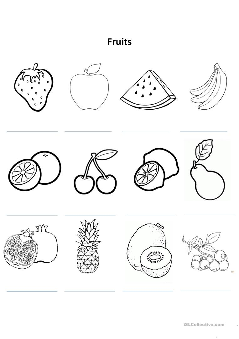 Fruit Colouring Worksheet - English ESL Worksheets
