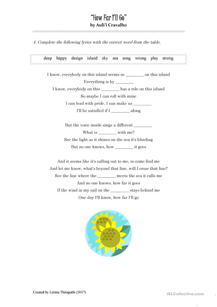 image about Moana Sail Printable referred to as How Significantly Sick Shift (Moana) - English ESL Worksheets