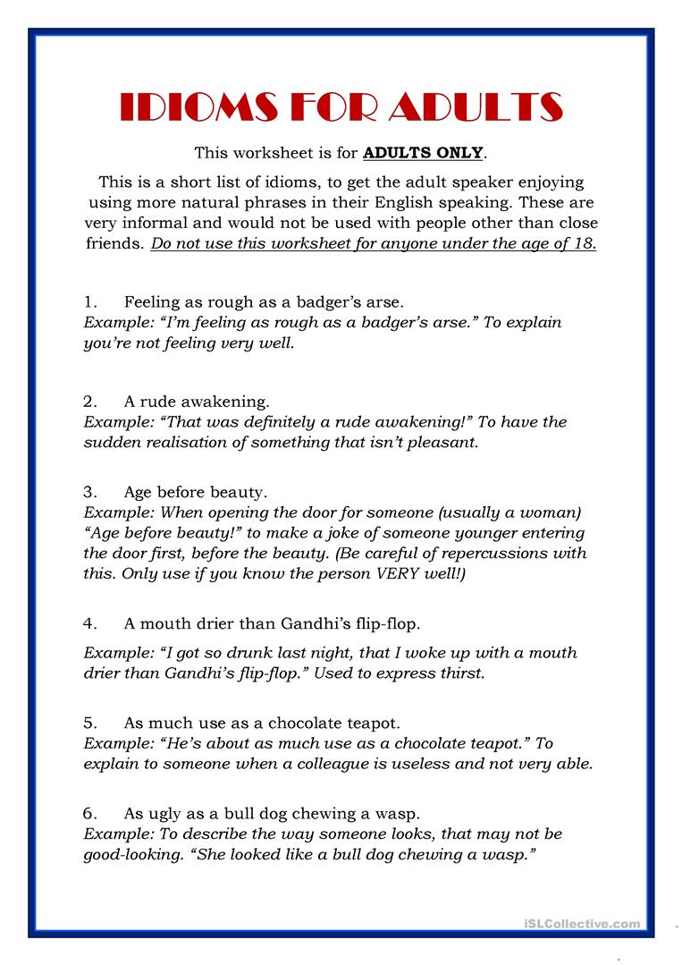Worksheets Getting To Know You Worksheet For Adults idioms for adults a short list worksheet free esl printable full screen