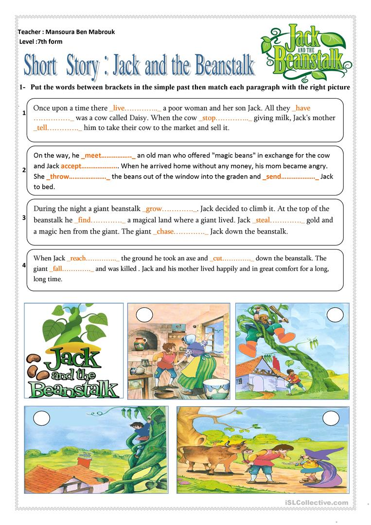 graphic about Jack and the Beanstalk Story Printable called English ESL jack and the beanstalk worksheets - Utmost