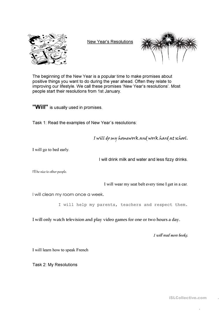 image about New Year's Worksheets Printable known as Refreshing Many years Resolutions worksheet - Free of charge ESL printable