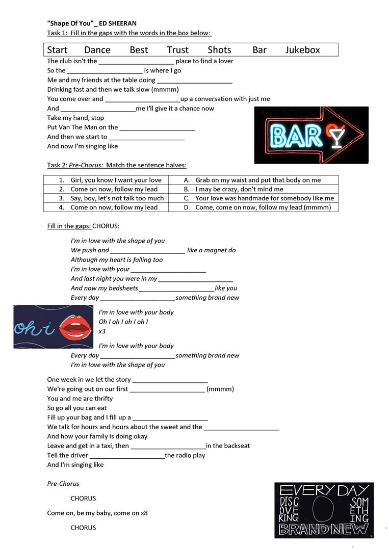 worksheet Dance Worksheets 30 free esl ed sheeran worksheets shape of you song sheeran