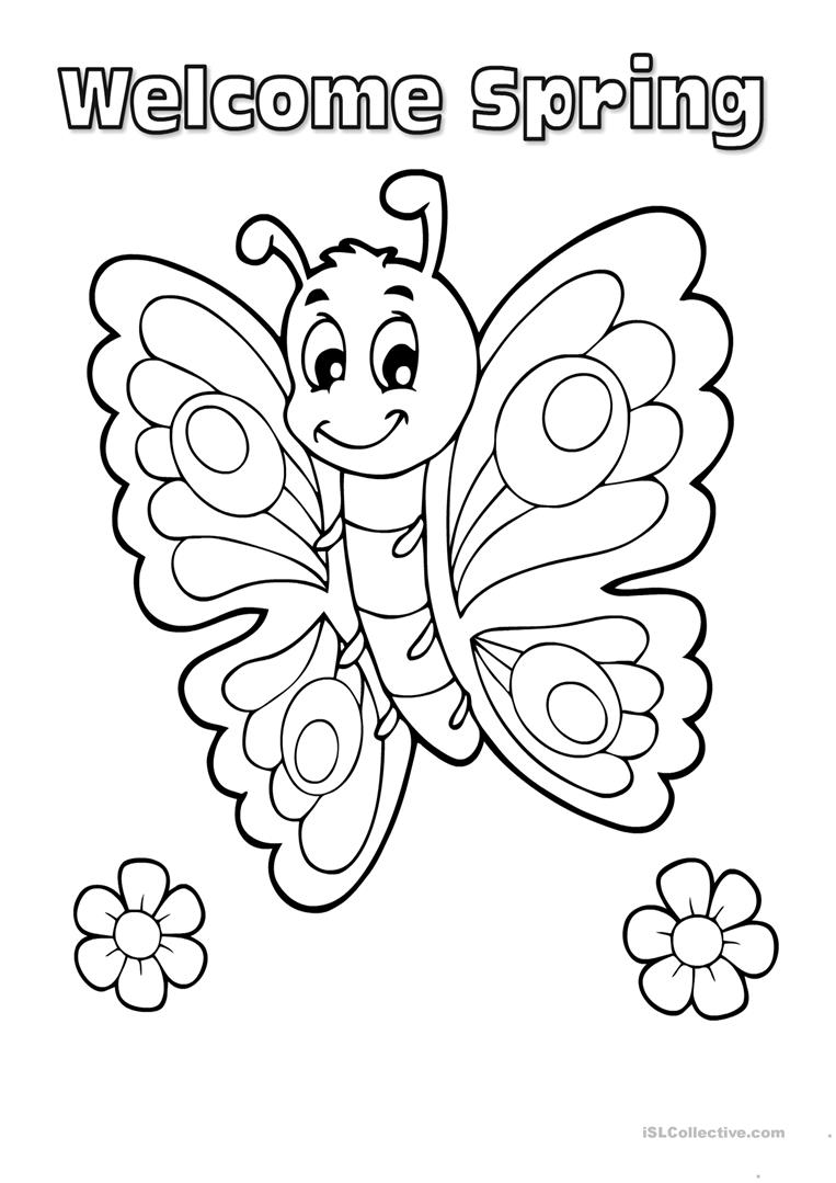 Colouring on worksheets - Spring Colouring