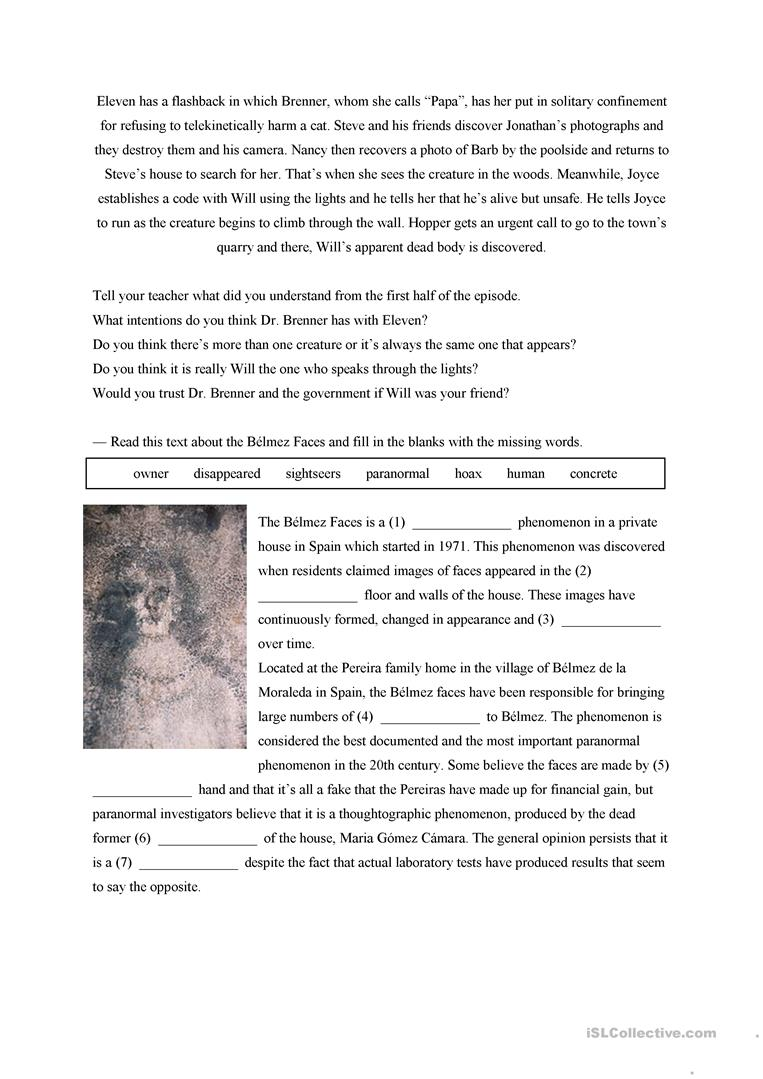 Stranger Things TV Show Episode 3 Activities worksheet Free – Flashback Worksheet