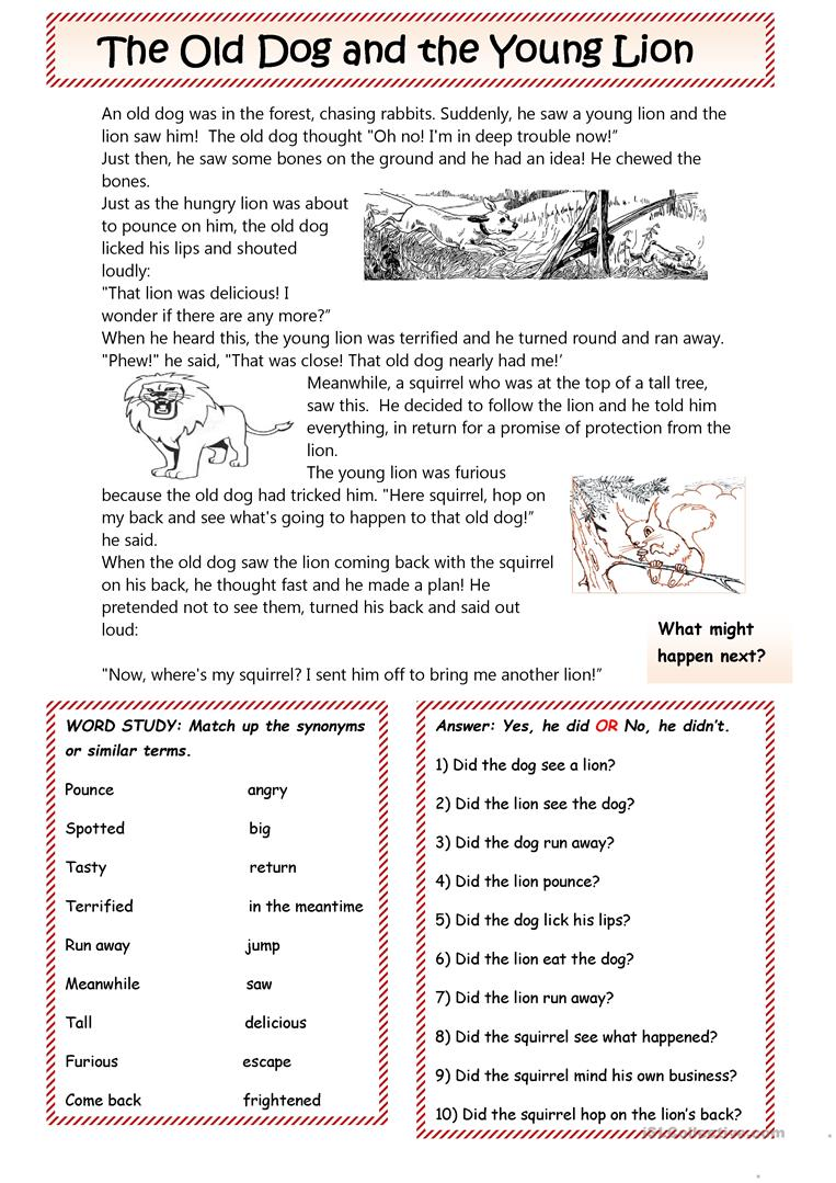 The Dog and the Lion a fable worksheet Free ESL printable – Fable Worksheets