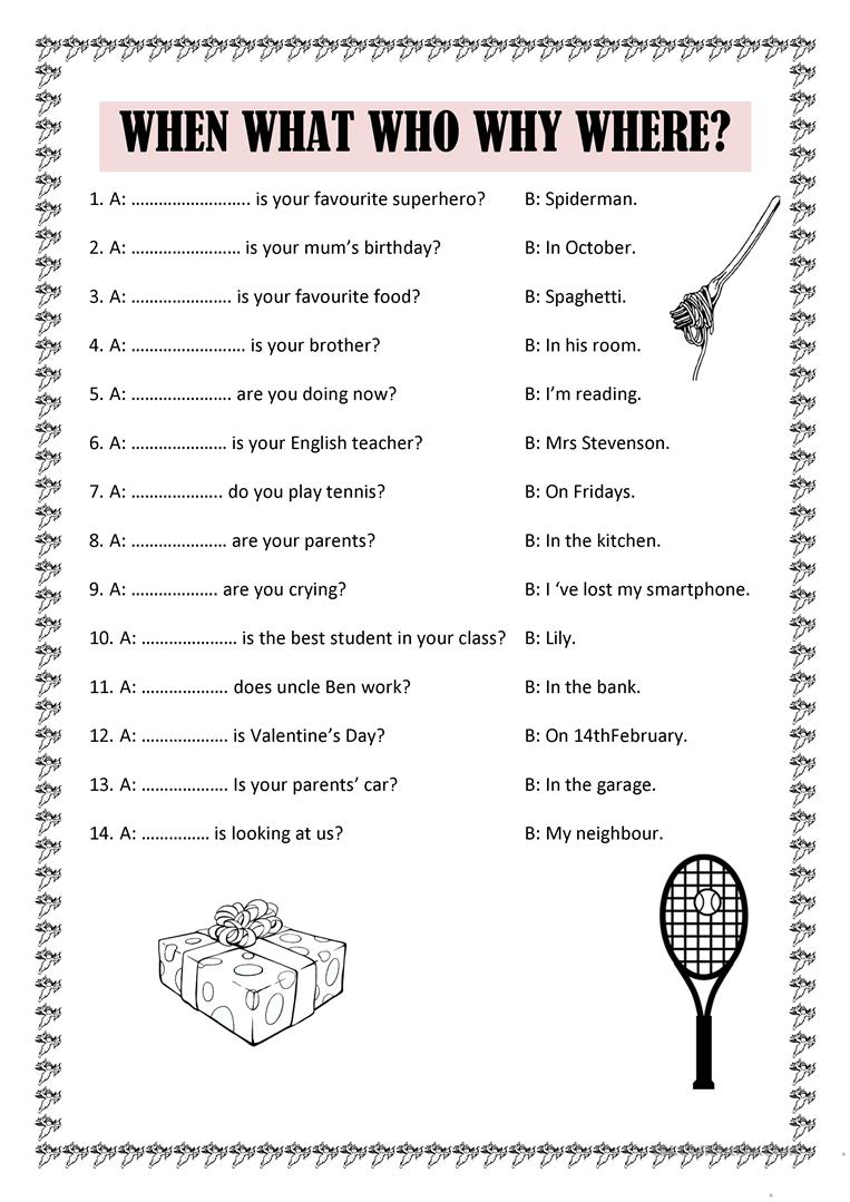 When what who why where - English ESL Worksheets