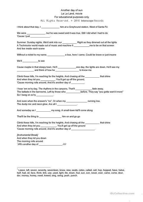Another day of sun; La La Land worksheet - Free ESL printable ...