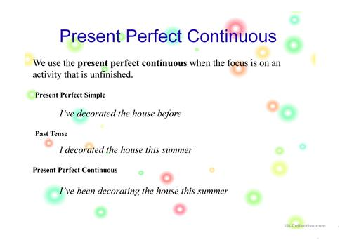 Examples Of Present Perfect Continuous Tense Sentences Worksheet
