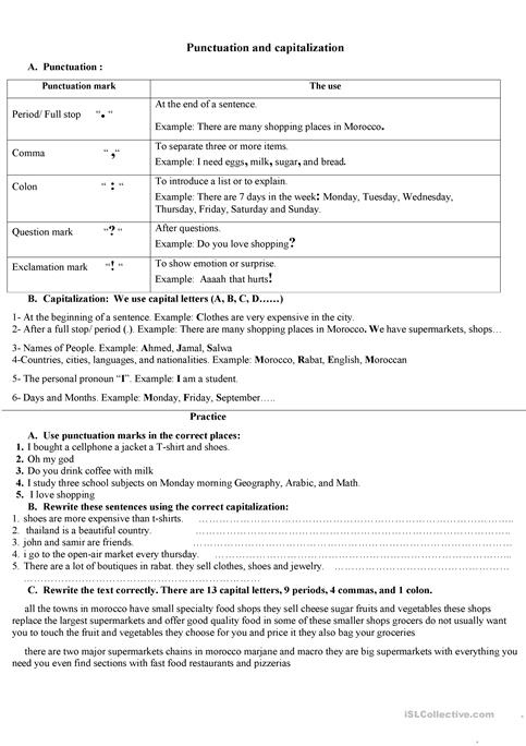 Punctuation And Capitalization Worksheet Free Esl Printable