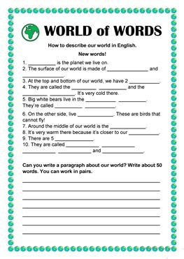 vocabulary words worksheet template
