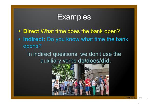 Direct and indirect questions