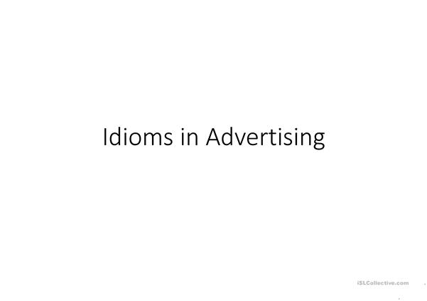 Idioms in Advertisements