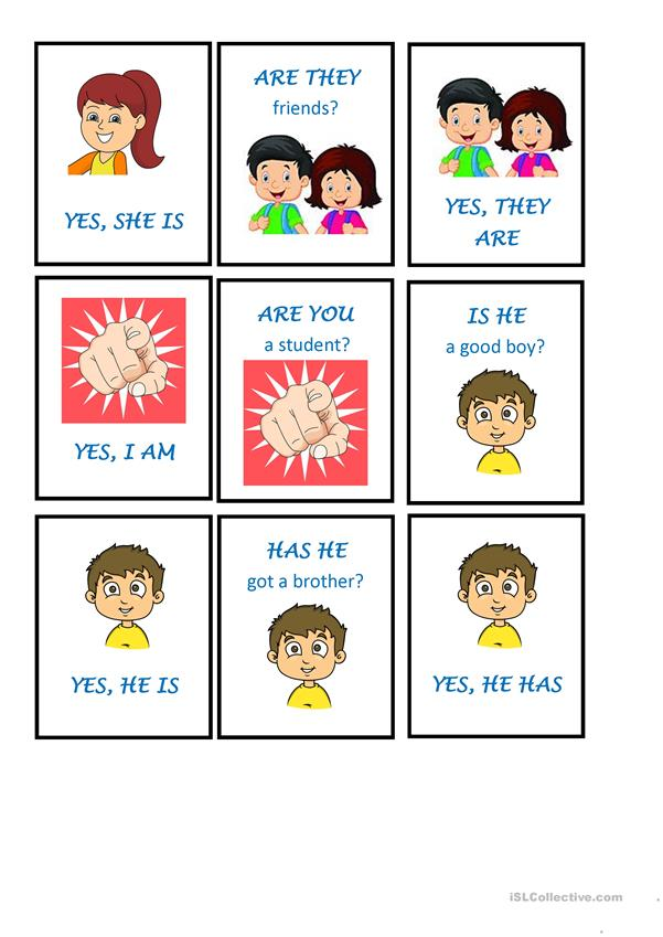 MEMORY GAME USING AUXILIARY VERBS