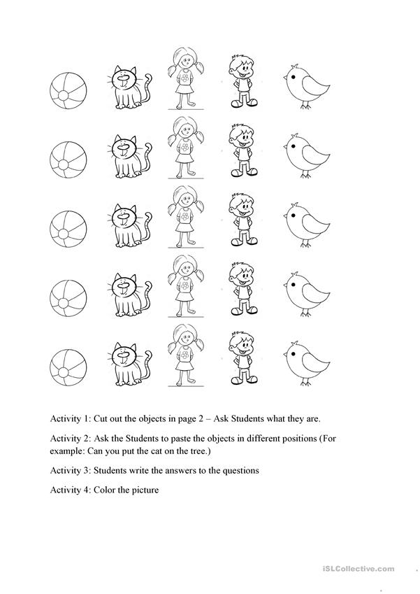 Prepositions of place: Four activities with one worksheet.