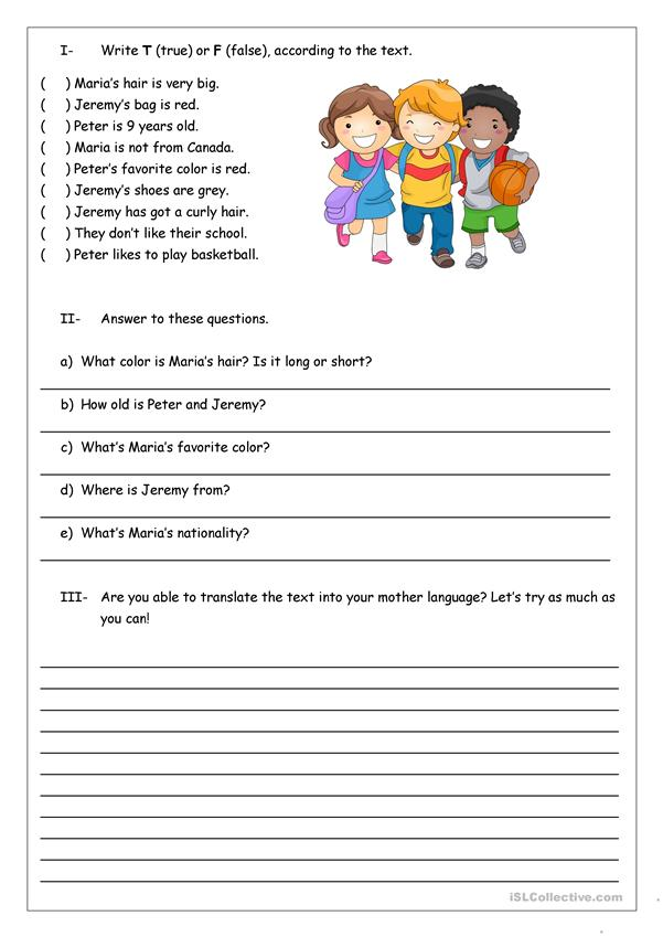Reading Comprehension For Kids - English ESL Worksheets For Distance  Learning And Physical Classrooms