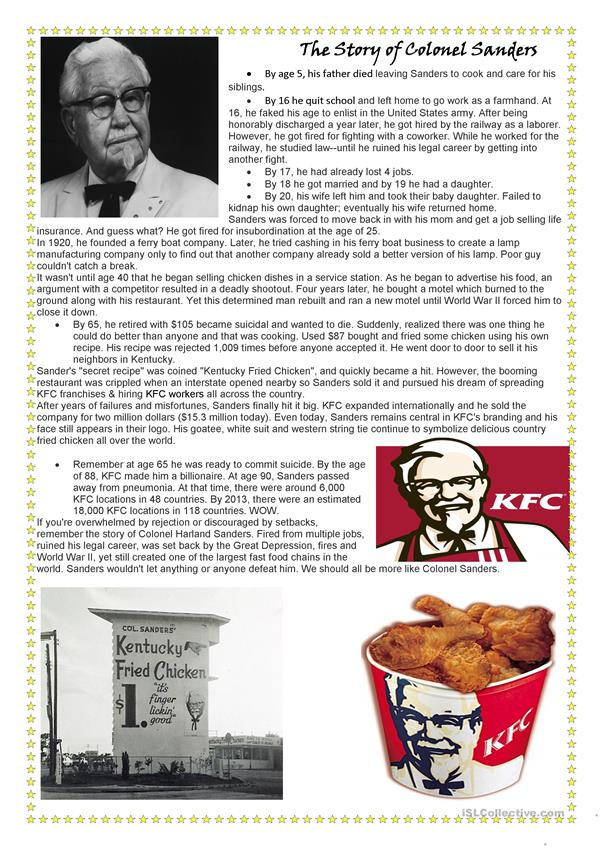 Reading: Story of Colonel Sanders (KFC)